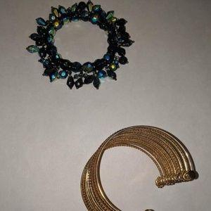 Muilt color bracelet and gold bangle.